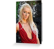 Kristy - red cowl 1 Greeting Card