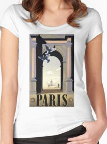 Paris Vintage Travel Poster Restored Women's Fitted Scoop T-Shirt