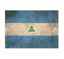 Old and Worn Distressed Vintage Flag of Nicaragua Art Print