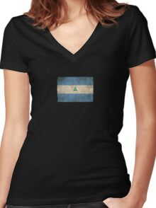 Old and Worn Distressed Vintage Flag of Nicaragua Women's Fitted V-Neck T-Shirt