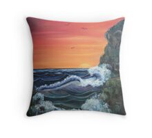 'Raging Sea - Sunrise after the storm' Throw Pillow