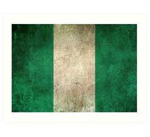 Old and Worn Distressed Vintage Flag of Nigeria Art Print