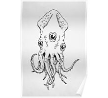 Squid (B&W) Poster