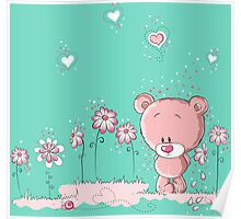 Pink bear in love Poster