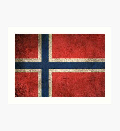 Old and Worn Distressed Vintage Flag of Norway Art Print