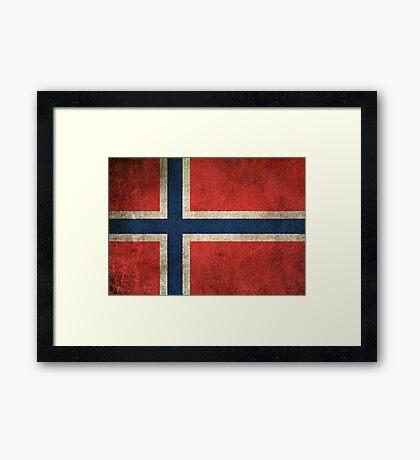 Old and Worn Distressed Vintage Flag of Norway Framed Print