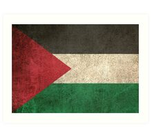 Old and Worn Distressed Vintage Flag of Palestine Art Print
