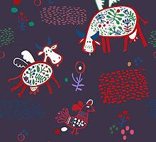 Pattern with funny cows by Ekaterinaya
