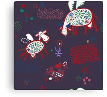 Pattern with funny cows Canvas Print