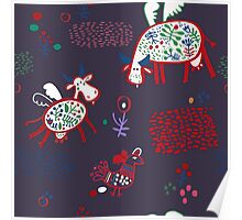 Pattern with funny cows Poster