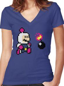 BomberMario Women's Fitted V-Neck T-Shirt