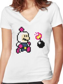 BomberMario Women's Fitted V-Neck T-Shirt