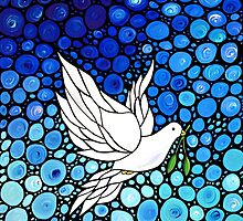 Peacefull Journey - White Dove Print Blue Mosaic Art by Sharon Cummings