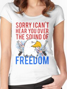 My Freedom America Guns Bald Eagles Fireworks Women's Fitted Scoop T-Shirt