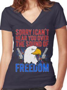 My Freedom America Guns Bald Eagles Fireworks Women's Fitted V-Neck T-Shirt