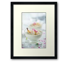 Pistachio Panna Cotta with Rose Poached Pears Framed Print
