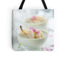 Pistachio Panna Cotta with Rose Poached Pears Tote Bag
