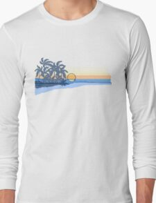 Big Sunset Hawaiian Stripe Surfers - Ocean Blue & Yellow Long Sleeve T-Shirt