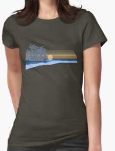 Big Sunset Hawaiian Stripe Surfers - Ocean Blue & Yellow Womens Fitted T-Shirt