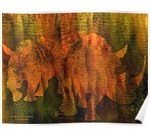 Moods Of Africa - Rhinos Poster