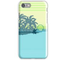 Big Sunset Hawaiian Stripe Surfers - Aqua & Lemon iPhone Case/Skin