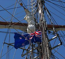 New Zealand ensign aboard ' Spirit of New Zealand ' ........! by Roy  Massicks
