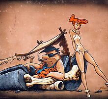The Flintstones go Lowbrow by NoCashComics