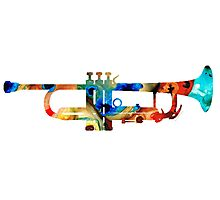 Colorful Trumpet Art By Sharon Cummings Photographic Print