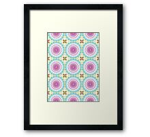 Pink, Blue and Green Abstract Medallion Design Framed Print