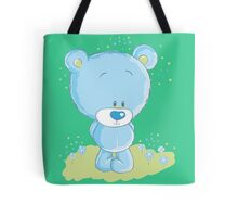 Shy blue bear Tote Bag