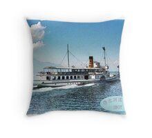 Cruise ship on Geneva lake Throw Pillow
