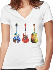 Guitar Threesome - Colorful Guitars By Sharon Cummings Women's Fitted V-Neck T-Shirt
