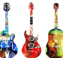 Guitar Threesome - Colorful Guitars By Sharon Cummings by Sharon Cummings