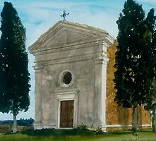 Church near Pienza Tuscany by Robert Bowden