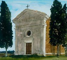 Church near Pienza Tuscany by Robert Bowden