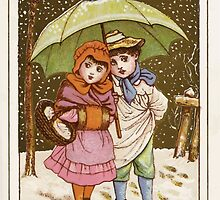 Flowers & Fancies Valentines Ancient & Modern Montgomerie Ranking art Kate Greenaway 1882 0141 Winter Snow and Umbrella by wetdryvac