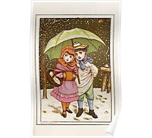 Flowers & Fancies Valentines Ancient & Modern Montgomerie Ranking art Kate Greenaway 1882 0141 Winter Snow and Umbrella Poster