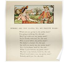 The April Baby's Book of Tunes by Elizabeth art Kate Greenaway 1900 0105 Where Are You Going to My Pretty Maid Poster