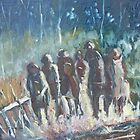 The Hoops Charge Home - Country Racing Vic. Australia by Margaret Morgan (Watkins)