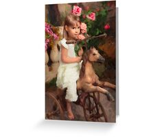 Girl on Toy Pony Greeting Card