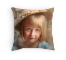 Girl in Hat Throw Pillow