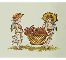 Language of Flowers Kate Greenaway 1884 0010 Basket of Roses Photographic Print