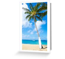 Coconut Palm tree with curfboard in Hawaii Greeting Card