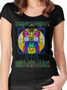 Lady Panda with hamsa and lovable  luck. Women's Fitted Scoop T-Shirt
