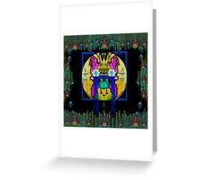 Lady Panda with hamsa and lovable  luck. Greeting Card