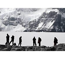 Adventurers Silhouetted against an Antarctic backdrop Photographic Print