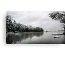 Green Boathouse - Snowy April Day -- Bridgton,  Maine Canvas Print