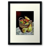 Apples and pears Pastel Painting Framed Print