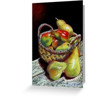 Apples and pears Pastel Painting Greeting Card