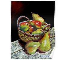 Apples and pears Pastel Painting Poster